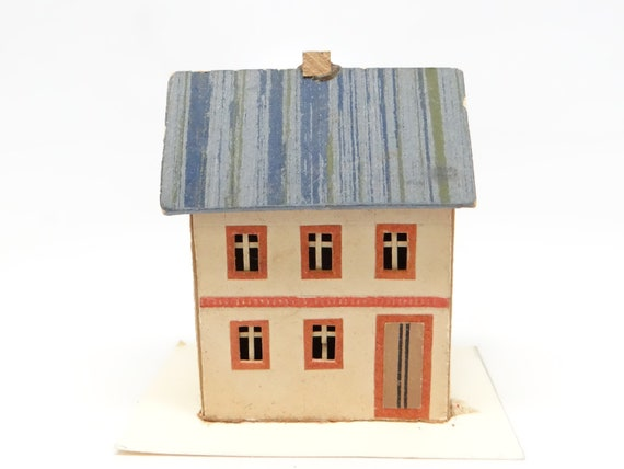 1930s German Christmas House For Putz Or Feather Tree Hand Painted Germany