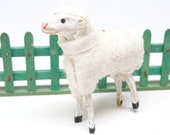 Antique 1930 39 s German 2 1 4 Inch Wooly Sheep, for Putz or Christmas Nativity, Vintage Easter