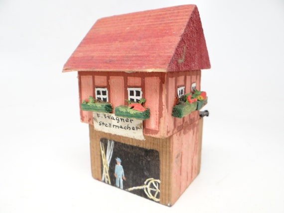 Vintage German Wagner Stellmacher House Shop Hand Made Of Wood And Hand Painted For Christmas Putz Or Nativity
