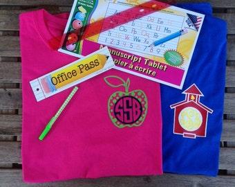 Personalized Monogrammed Apple School House Back to School Teacher Shirt Tee