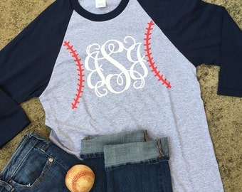 Baseball Stitch Monogram Baseball Mom Tee Personalized Baseball Shirt