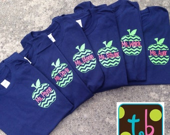 Personalized Chevron Monogrammed Apple Back to School Teacher Shirt Tee