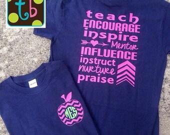 Personalized Monogram Teacher Quote Tees Teacher T-Shirt Influential Teacher
