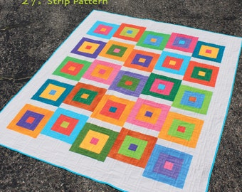 """Block Hop 2-1/2"""" Strip Quilt Pattern - Multiple Sizes -  PDF Version"""