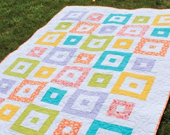 "Shuffle Block 2-1/2"" Strip Quilt Pattern -  Multiple Sizes -  PDF version"