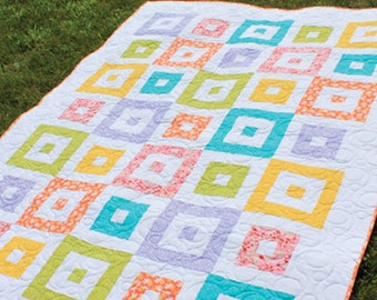 "Shuffle Block 2-1/2"" Strip Quilt Pattern -  Multiple Sizes -  Crib, Lap, Full  -  Printed Pattern"