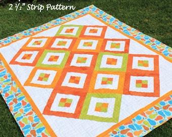 "Sunshine Shimmy 2-1/2"" Strip Quilt Pattern - Multiple Sizes -  PDF Version"