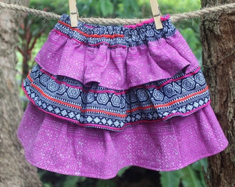 Little Girls Ruffle Skirt in Ethnic Hmong Purple and Indigo Batik - Emma