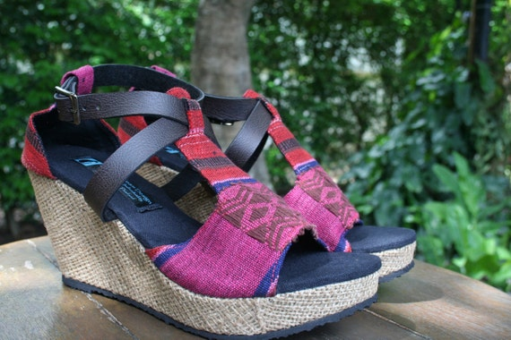6748e83ab441c Ethnic Womens Sandals Tribal Naga Textiles, Faux Leather Straps, Wedge  Heel, Vegan - Leighanna FREE Shipping