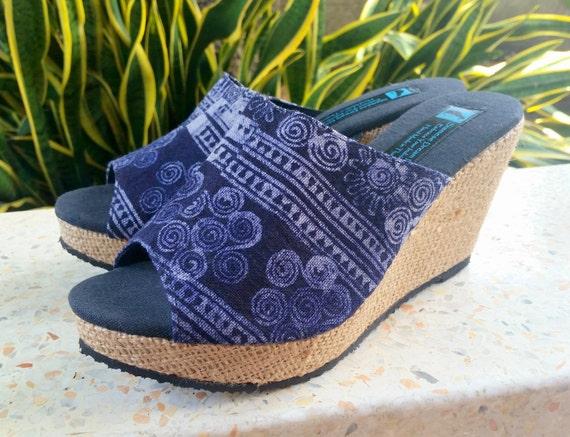 glisser Wedge sur Batik glissement chaussure d Open talon chaussures Toe Womens ethnique les sandale XZCq5