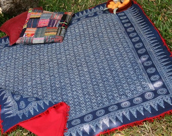 Hmong Indigo Batik Boho Throw Blanket, Picnic Blanket, Sofa Throw Or Tablecloth With Red Fringe  Bohemian Decor Free Worldwide Shipping