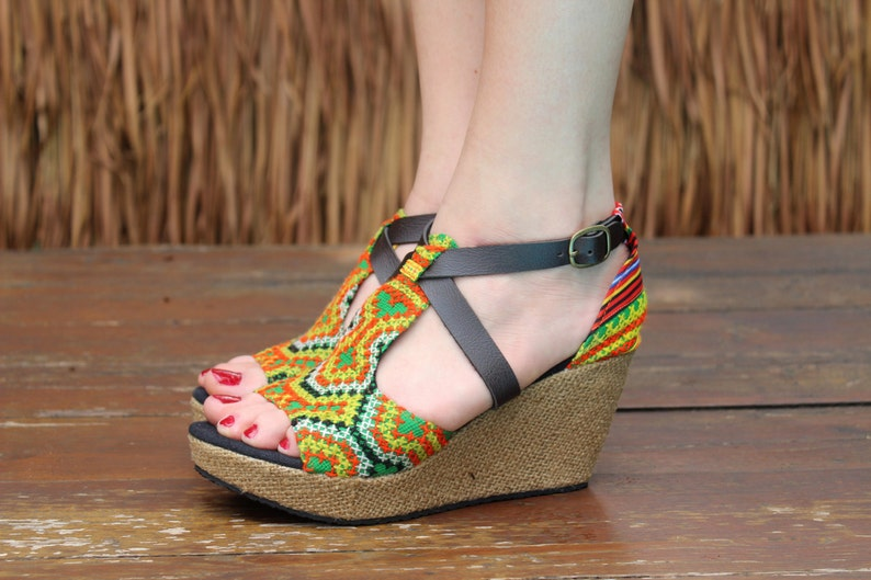 b54e97ba5cd27 Vegan Womens Ethnic Sandals Colorful Hmong Embroidery Faux Leather Straps  Wedge Heel - Leighanna