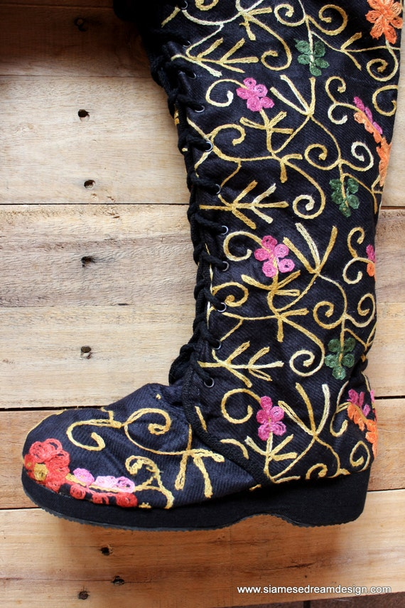 Knee Womens High Heel Up Wedge Floral Anja Vegan Lace Boot Embroidered Black qw0AxTH