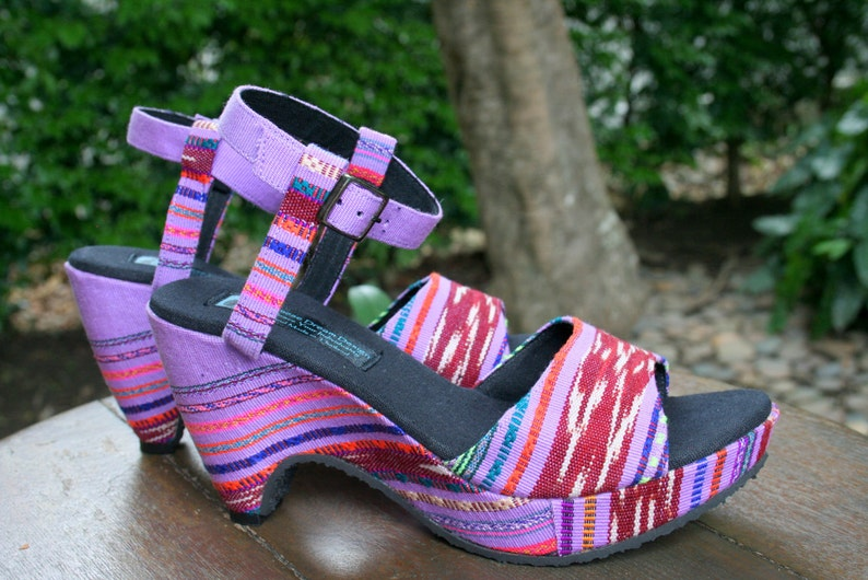 eec0fbf201ac1 Vegan Womens Sandals, Cut Out Wedge Heel In Hand Woven Purple Karen  Textiles - Chelsea, FREE Shipping