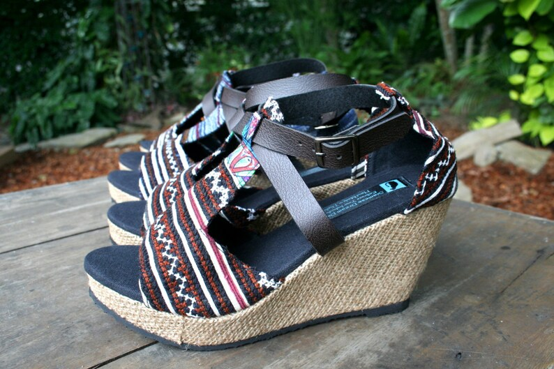 693cce300586c Vegan Womens Sandals In Earthy Ethnic Hmong Embroidery, Faux Leather  Straps, Wedge Heel - Leighanna