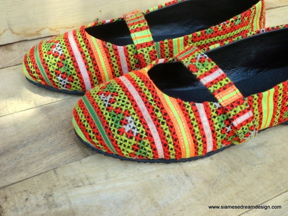 Ethnic Hmong in Style Womens Colorful Shoes Embroidery Flat Micha Ballet WvrvnExwq