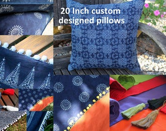 Custom Made  20 Inch Pillows, Indigo Batik  Cushion, Choose Colorful Cotton Backing, Add Fringe Or Pom Poms Free Worldwide Shipping