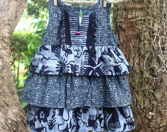 Little Girls Ruffle Dress in Naturally Dyed Hmong and Indonesian Indigo Batik- Leela Size 2/3T, Free Worldwide Shipping