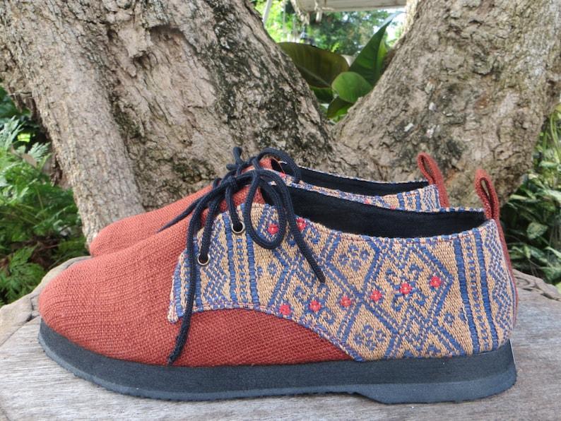Alexa Vegan Womens Shoes Oxfords In Natural Hemp /& Naga Tribal Embroidery