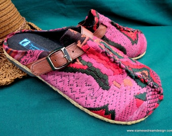 Women's Slides, Clogs in Vintage Laos Embroidery, Size US 6