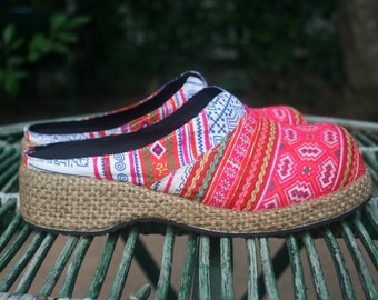 Women's Clogs in Bright Pink Hmong Embroidery, Vegan Shoes, Slides, US Size 7.5
