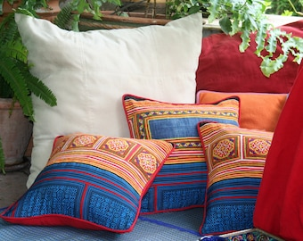 "Red & Yellow Hmong Pillow, Ethnic Embroidery On Cotton 16 ""  Boho Pillow Cushion, ** Free Worldwide Shipping **"