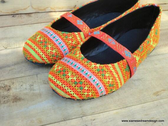 broderie escarpins Hmong Ballerines femmes Orange Micha en wRqn4fS