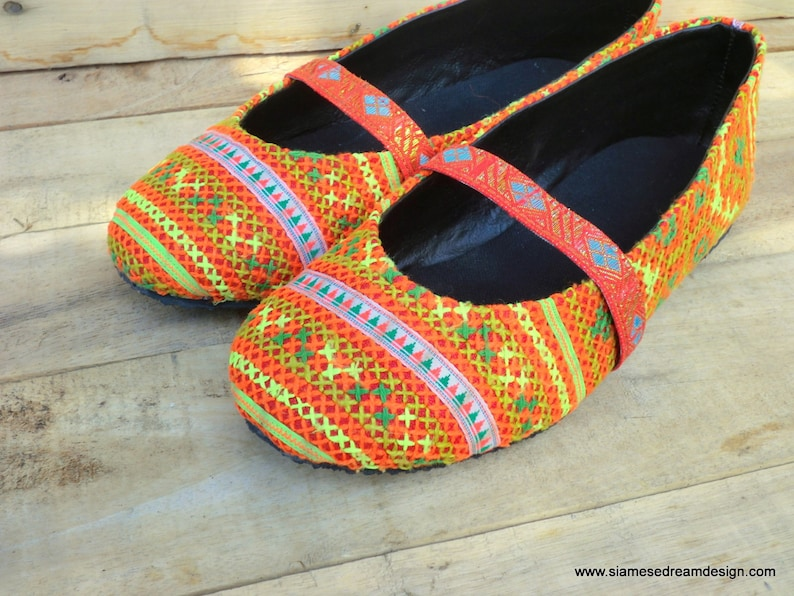 d532bee08b2c2 Women's Ballet Flats, Shoes in Orange Hmong Embroidery - Micha