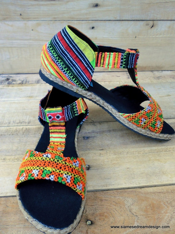 Womens Yellow Vegan Embroidery Orange and Ethnic Hmong Sandals T Strap Lindsay qExSna