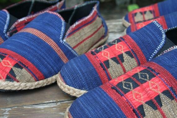 chaussures Vegan rouge Mens et Espadrilles Naga Tribal en Morgan Style Textiles mocassins ethnique bleu Ha5q65U