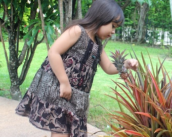 Little Girls Dress in Naturally Dyed Indonesian Batik- Leela, Free Worldwide Shipping