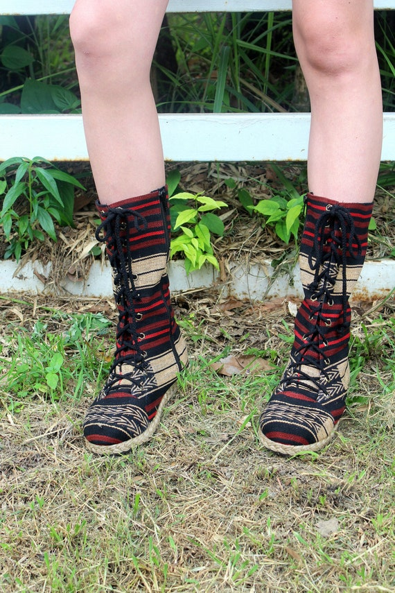 Naga Up Tribal Mid Britta Textiles Combat Ethnic Lace Calf Boots Women's wBqwa
