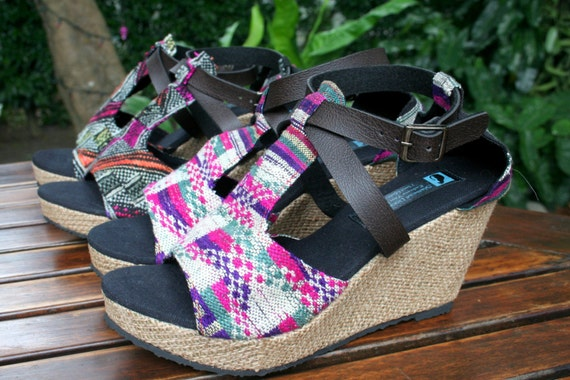 ff1a1782630f0 Womens Sandals In Laos Embroidery, Faux Leather Straps, Wedge Heel, 2  Patterns - Leighanna