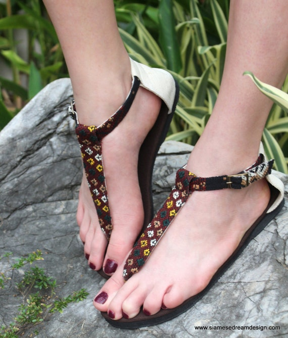 Woven Hand Ethnic Sita Vegan Strap Womens Flats Textiles Kachin Burmese Sandals T In xAUpAf