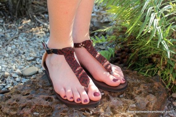 Sandals Strap Brown Flats Womens Sita In Ethnic Hand Woven Burmese Textiles Kachin T Vegan vEqdWUq