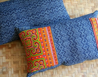 Indigo Batik Lumbar Pillow, Blue Decorative Throw Pillow, Or Cushion Cover With Or Without Hmong Embroidery