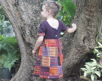 Little Girls Patchwork Hmong Dress Ethnic Embroidery And Natural Cotton, Size 6/6X  Boho Dress - Delilah FREE Shipping