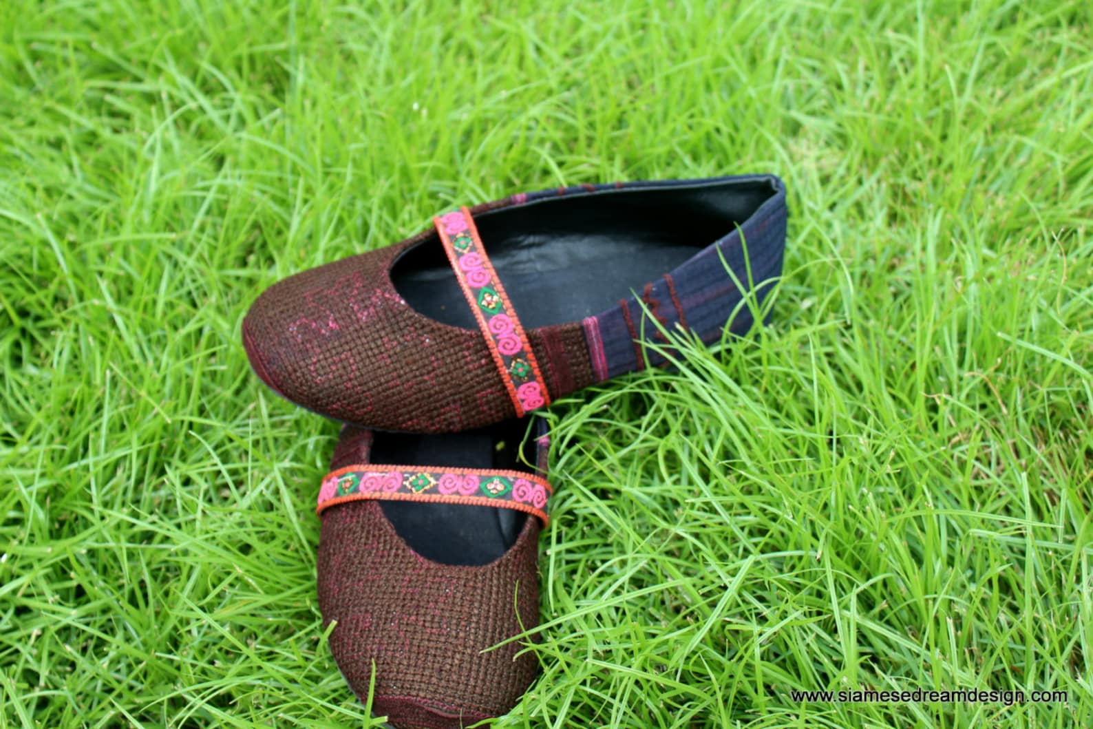 ballet flat style girls shoes in ethnic hmong navy and brown embroidery with pink trim