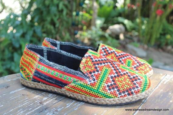 Loafers Vegan Batik FREE Espadrilles Morgan Shoes Shipping Indigo Orange Embroidered With Womens Hmong AwZqY