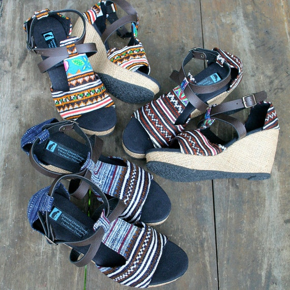 Wedge Womens Earthy In Ethnic Leather Straps Faux Hmong Leighanna Embroidery Sandals Heel Vegan FvWxdqwUOO