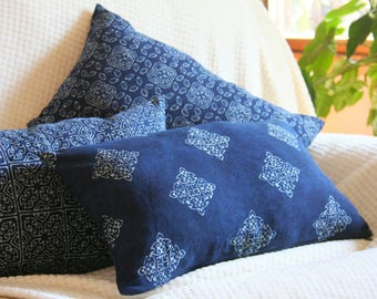Hmong Indigo Batik Lumbar Pillow, Decorative Throw Pillow, Blue Cushion Cover, Natural Plant Dye, 3 Patterns