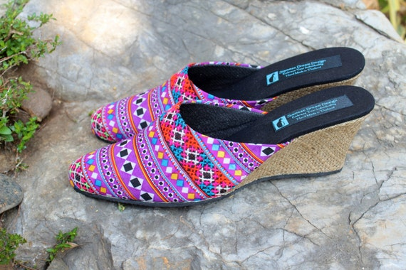 Slide Hmong Womens Vegan Wedge Veronica Heel Lavender Shoes Embroidered BzExw4Bq6