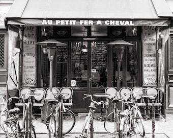 Paris Black and White Photograph, Au Petit Fer a Cheval, Little Horseshoe, Large Wall Art, French Kitchen Decor, Travel Photograph