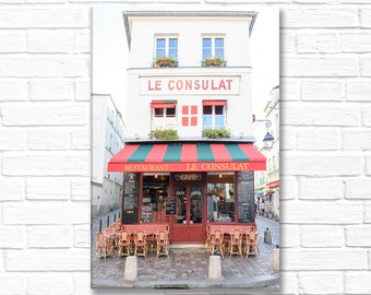 Paris Photography on Canvas - Le Consulat in Montmartre, Gallery Wrapped Canvas, Home Decor, Large Wall Art