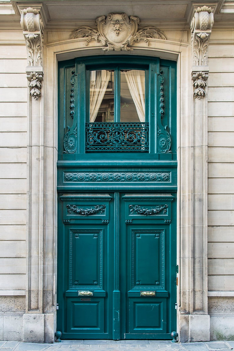 Paris Photography  French Door Travel Photograph Teal image 0