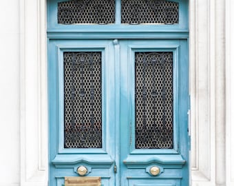 Paris Door Photography - Blue Door 187, Paris Architecture Fine Art Print, Travel Photograph, French Home Decor, Large Wall Art