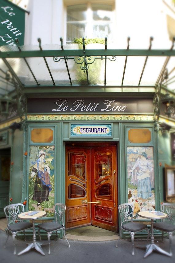 paris photograph le petit zinc restaurant art nouveau etsy