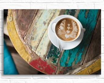 Paris Photography on Canvas - La Cafeoteque, French Kitchen Decor, Paris Cafe, Gallery Wrapped Canvas, Large Wall Art