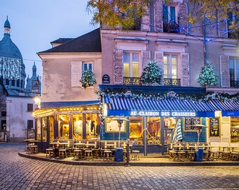 Paris Cafe Photograph, Place du Tertre at Christmas, Paris Art Print, Large Wall Art, French Decor, Travel Photograph