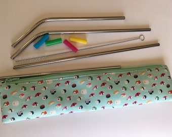 Reusable Stainless Steel Straw Set with Watermelon themed zipper pouch